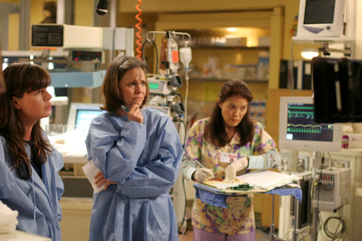 Maura Tierney is Dr Abby Lockhart and Sally Field is Maggie [ER Season 13]